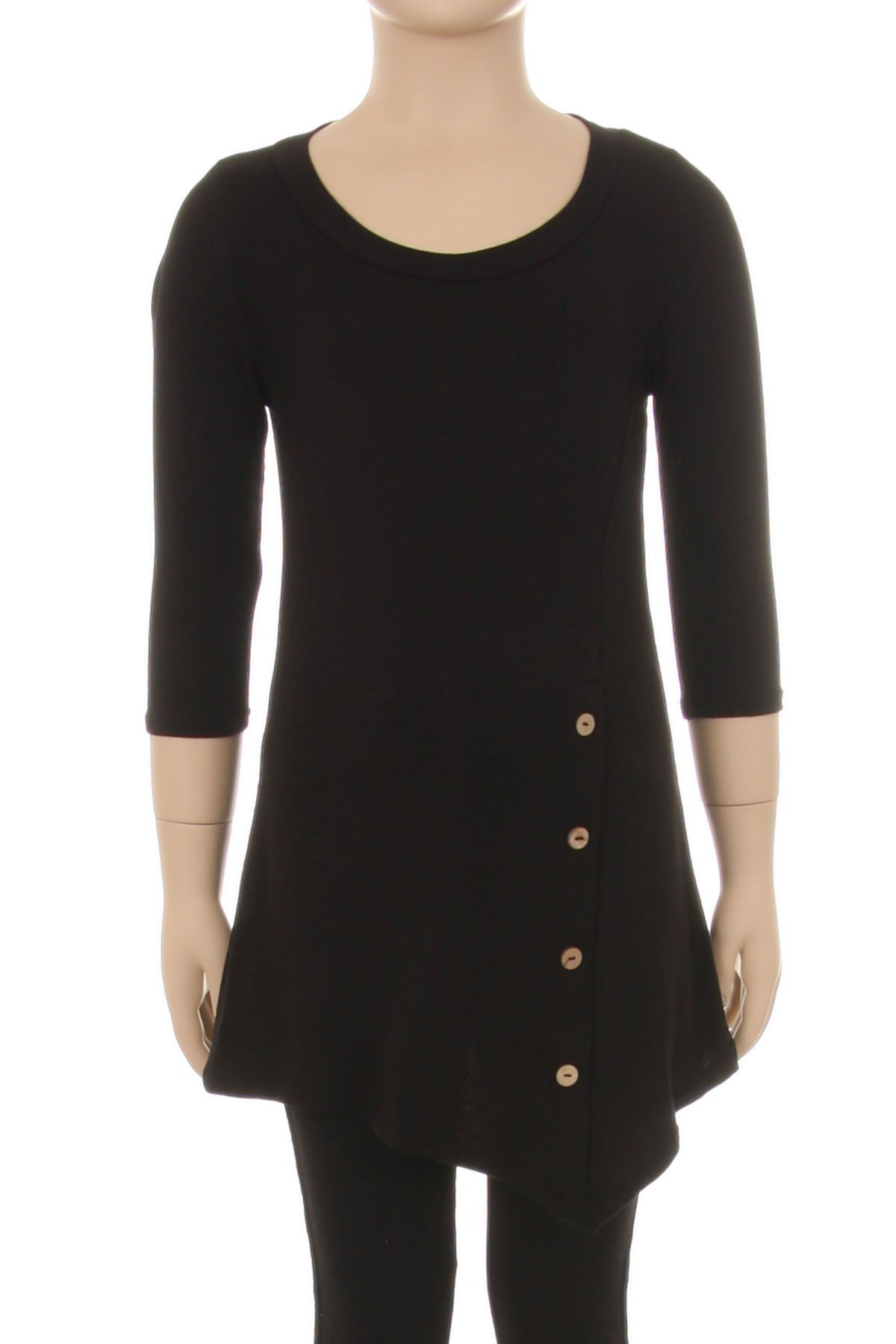 Girl's Black Tunic Dress Asymmetric Top: S/M/L/XL - MomMe and More