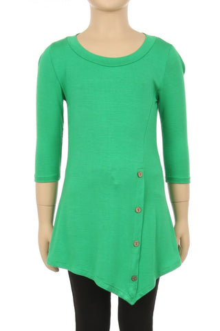 Girls Solid Green Dress Asymmetric 3/4 Sleeve Tunic Top Tops MomMe and More