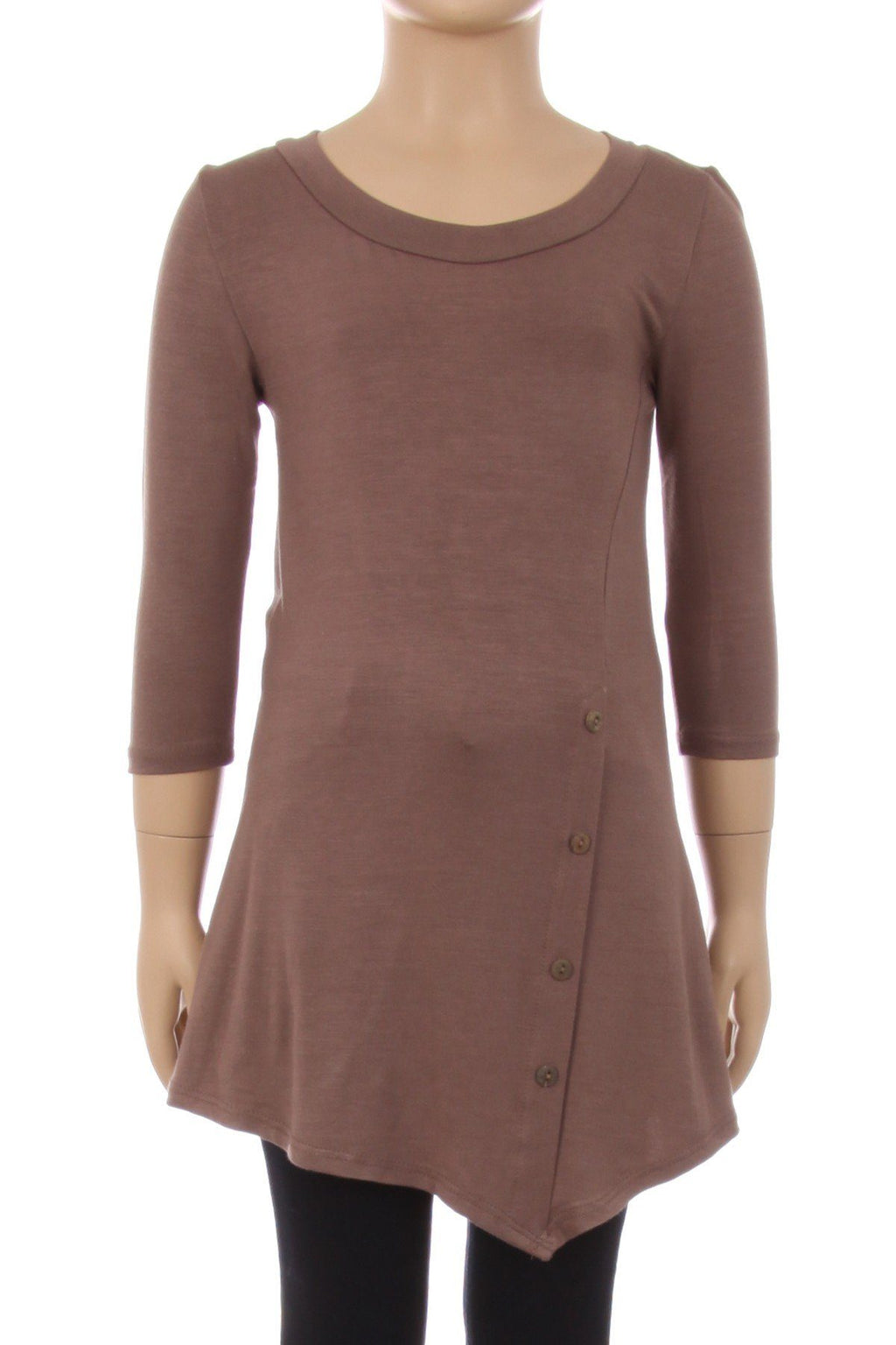 Girl's Mocha Brown Tunic Dress Asymmetric Top: S/M/L/XL - MomMe and More