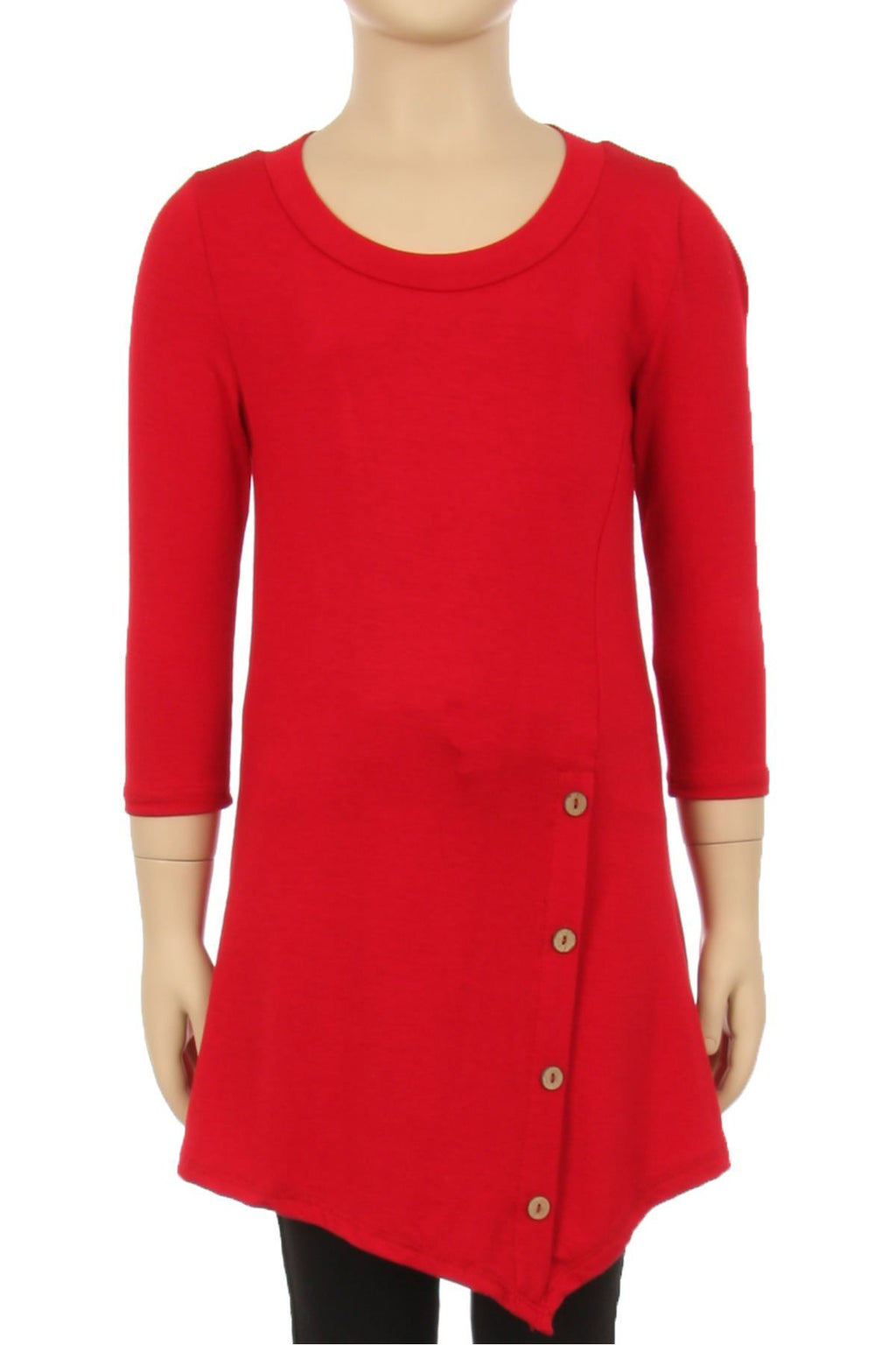 Girls Solid Red Dress Asymmetric 3/4 Sleeve Tunic Top - MomMe and More Matching Mommy and Me Clothing