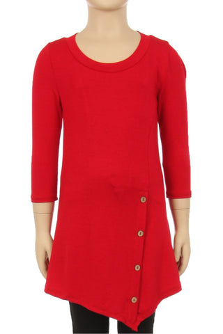 Girls Solid Red Dress Asymmetric 3/4 Sleeve Tunic Top Tops MomMe and More