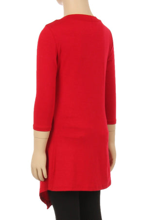 Tunic Top For Girls Asymmetric Hem Side Buttons Solid Red: S/M/L/XL - MomMe and More