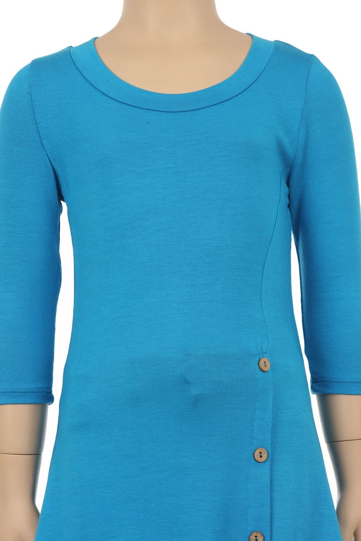 Tunic Top For Girls Asymmetric Hem Side Buttons Teal Blue: S/M/L/XL