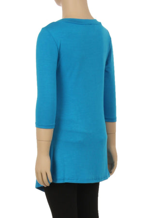 Tunic Top For Girls Asymmetric Hem Side Buttons Teal Blue Lularoe