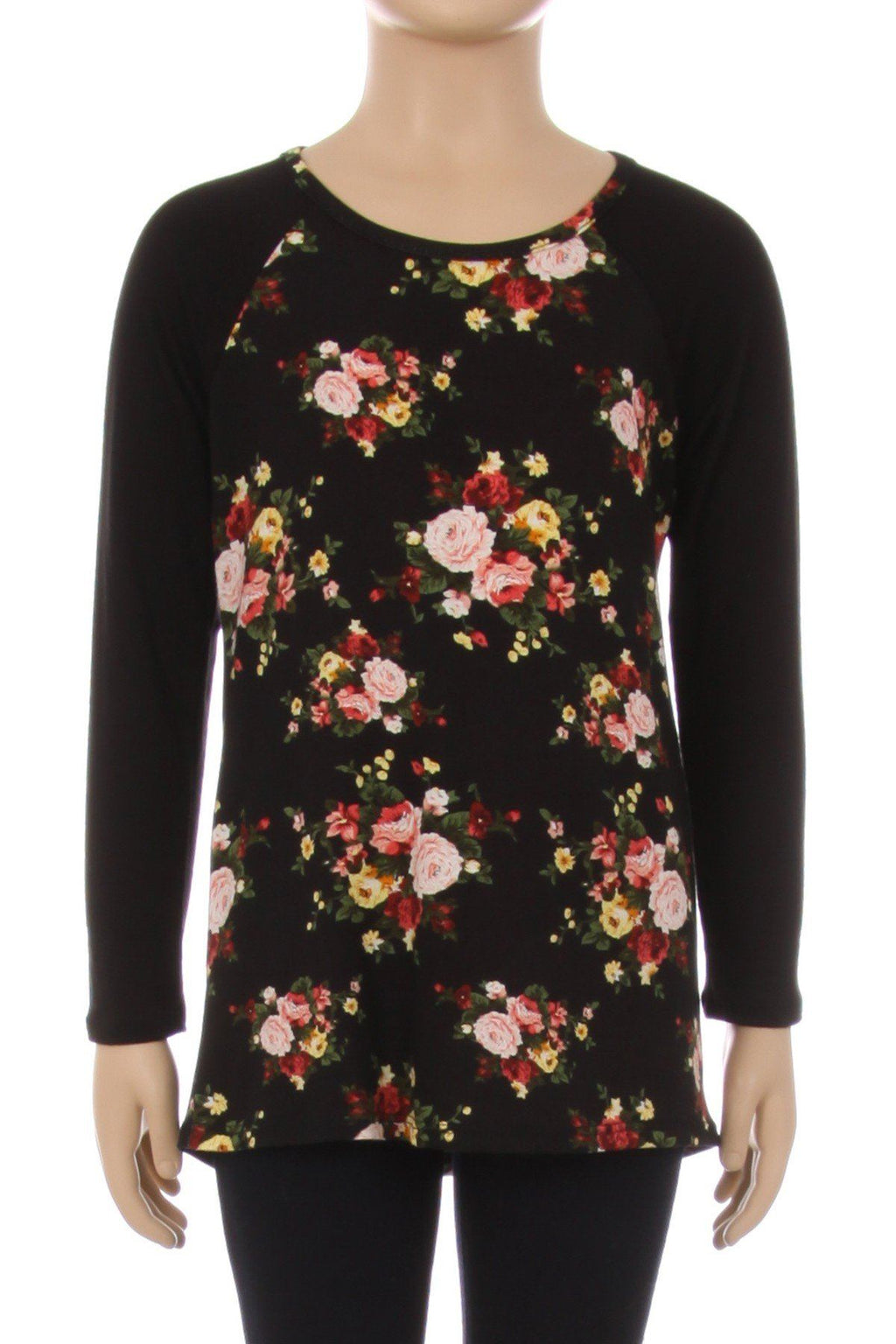 Girl's Raglan Tunic Top Rose Printed Shirt Black/Pink: S/M/L/XL - MomMe and More