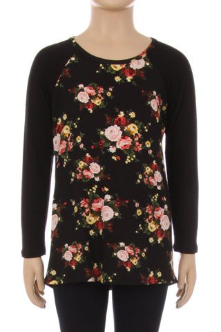 Black Floral Top For Girls Long Sleeve Shirt: 6/8/10/12 Tops MomMe and More