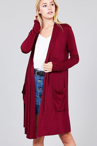 Women's Burgundy Cardigan With Pockets: S/M/L/XL Cardigan MomMe and More