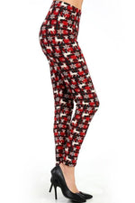 Leggings for Women Holiday Red Plaid Reindeer, OS/PLUS - MomMe and More