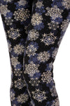 Womens Snowflake Christmas Leggings: Black/Blue Leggings MomMe and More