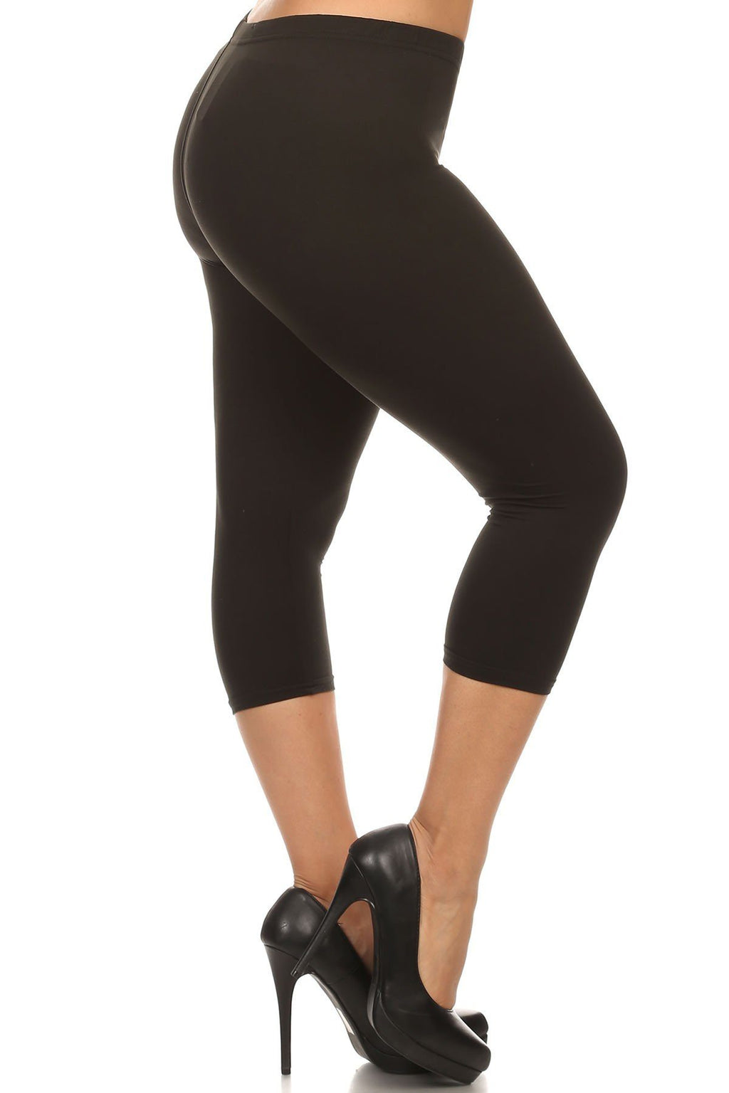 Capri Leggings for Women Solid Black: OS/PLUS