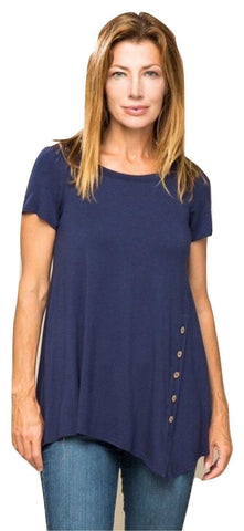 Women's Navy Blue Tunic Top With Side Buttons: S/M/L/XL Tops MomMe and More