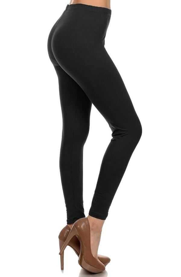 Leggings for Women Solid Black, Capri & Ankle Length, OS/PLUS