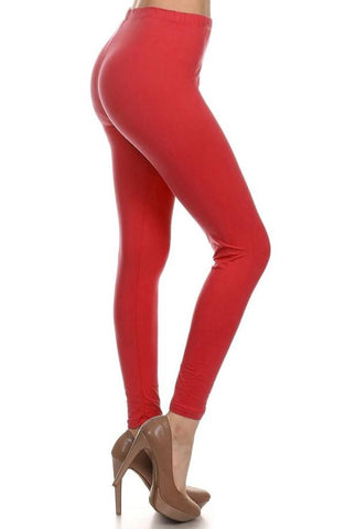 Women's Best Solid Red Soft Leggings: OS and Plus Leggings MomMe and More