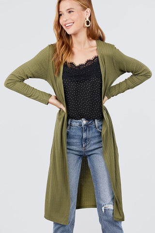 Womens Olive Green Long Cardigan Cardigan MomMe and More