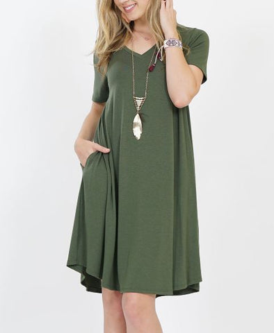 Women's Olive Green Pocket Dress: Plus dress MomMe and More