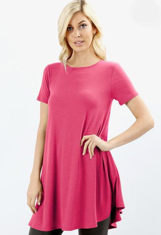 Women's Pink Top Short Sleeve Pocket Tunic Dress Tunics MomMe and More