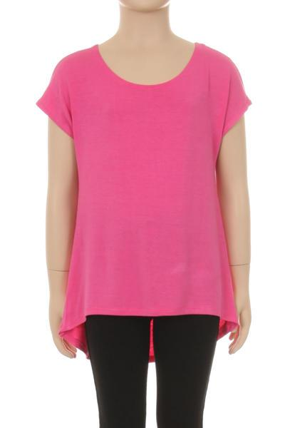 Pink Solid Top For Girls Short Sleeve Shirt: 6/8/10/12