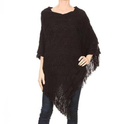 Women's Fringed Poncho: Black poncho MomMe and More