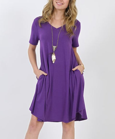 Women's Purple Pocket Dress: S-3XL dress MomMe and More