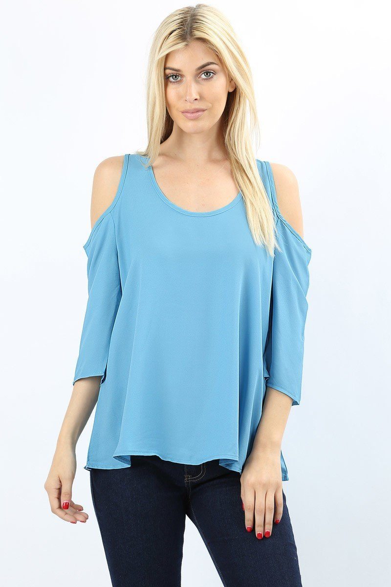 Women's Blue Tunic Top Cold Shoulder Pastel Blue Blouse: S/M/L - MomMe and More