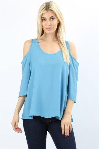 Women's Blue Cold Shoulder Tunic Top: S/M/L Tops MomMe and More