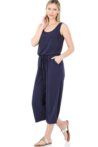 Womens Tank Top Capri Jumpsuit: Navy Blue Jumpsuit MomMe and More