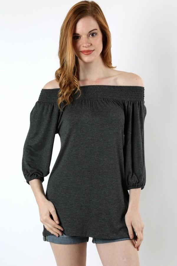 Women's Off the Shoulder Tunic Top Charcoal Gray:  S/M/L - MomMe and More