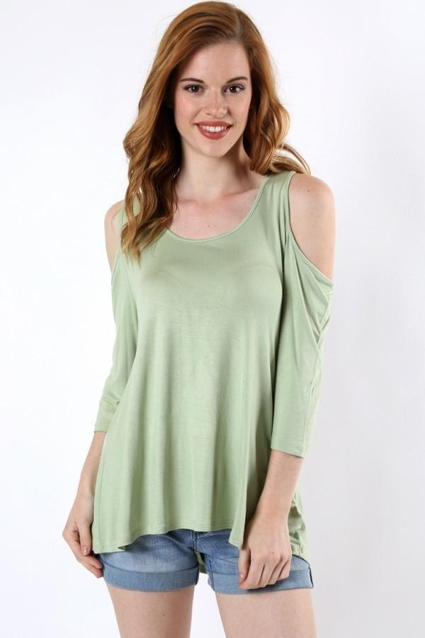 Green Tunic Cold Shoulder Shirt Pastel Green: S/M/L - MomMe and More