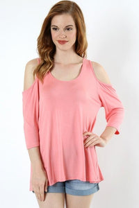 Women's Pink Tunic Top Cold Shoulder Solid Shirt: S/M/L - MomMe and More