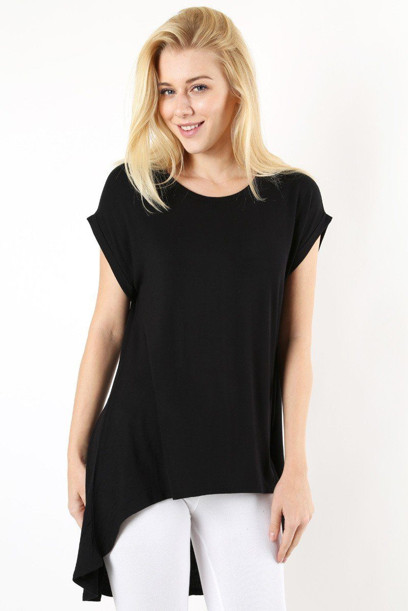 Women's Black Tunic Top Short Sleeve Back Split Asymmetric Hem: S/M/L - MomMe and More