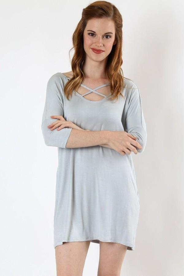 Women's Gray Top 3/4 Sleeve Shirt: S/M/L/XL Tops MomMe and More