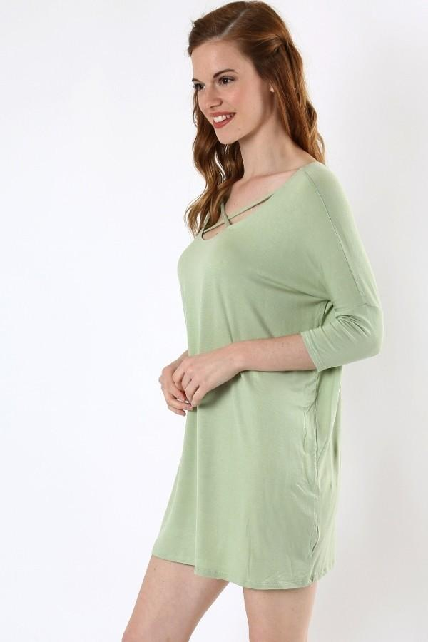 50% Off Women's Green Top 3/4 Sleeve Tunic Dress: S/M/L/XL Tops MomMe and More