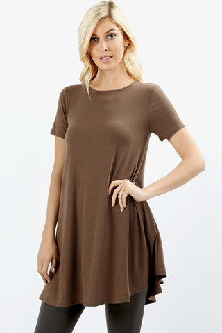 Women's Mocha Brown Top Short Sleeve Pocket Tunic Dress Tunics MomMe and More