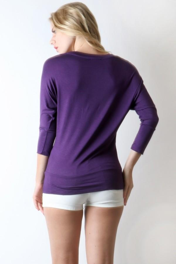 Tunic Top For Women/Juniors V-Neck Shirt, Purple,  S/M/L