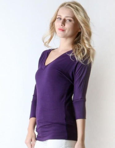 Women's Purple Tunic Top V-Neck 3/4 Sleeve Shirt Tops MomMe and More