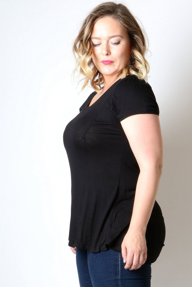 50% Off Women's Black Top Short Sleeve Shirt Plus: 1XL/2XL/3XL Tops MomMe and More