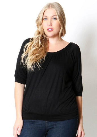 Women's Black Top 3/4 Sleeve Shirt Plus: 1XL/2XL/3XL Tops MomMe and More