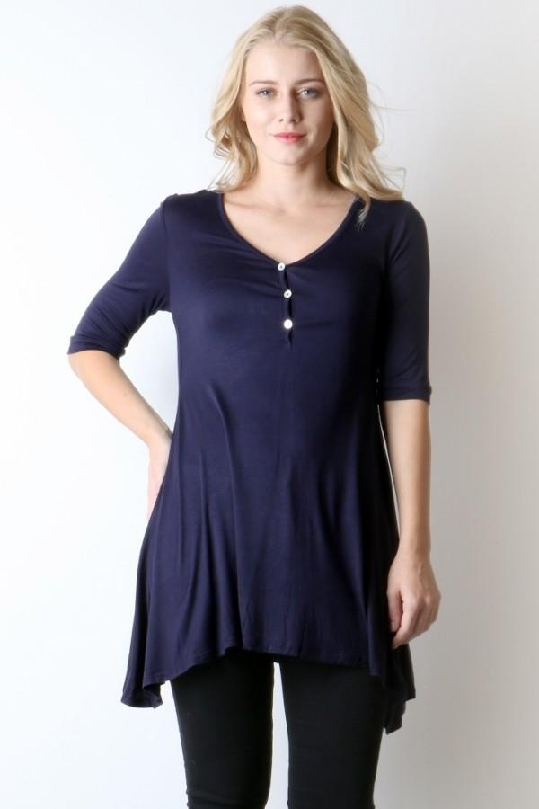 Women's Navy Blue Dress V-Neck Tunic Top: S/M/L - MomMe and More