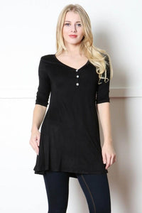 Women's Black Dress V-Neck Tunic Top: S/M/L - MomMe and More