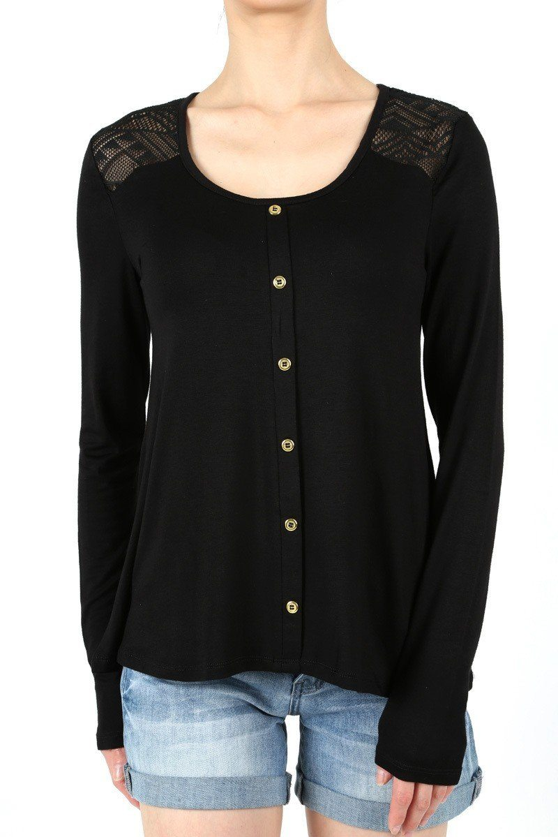 Women's Solid Black Lace Tunic Top Faux Buttons - MomMe and More Matching Mommy and Me Clothing