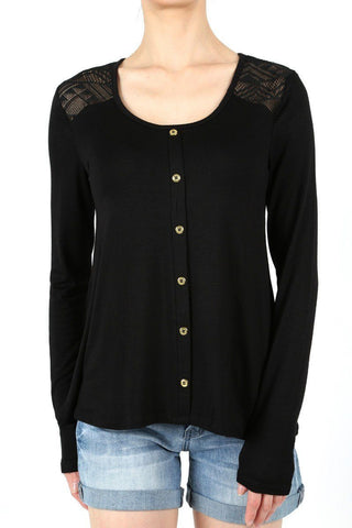 Tunic Top For Women, SOLID BLACK, LACE & BUTTON DETAIL, S/M/L
