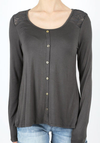 Tunic Top For Women Lace & Buttons Details, Charcoal Gray, S/M/L