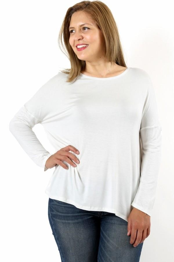 Women's White Tunic Top Dolman Sleeve Tunic: 1XL/2XL/3XL - MomMe and More