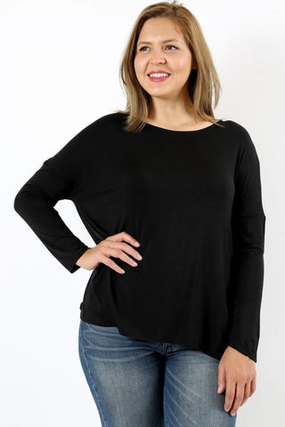 50% Off Women's Black Top Long Sleeve Plus Size Shirt: 1xl/2xl/3xl Tops MomMe and More