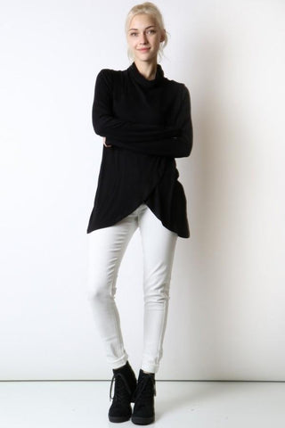 50% Off Women's Black Top Long Sleeve Cowl Neck Shirt: S/M/L Tops MomMe and More
