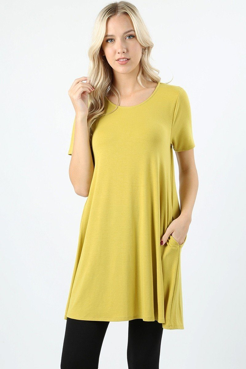 Women's Yellow Swing Dress Short Sleeve Tunic Top Tunics MomMe and More