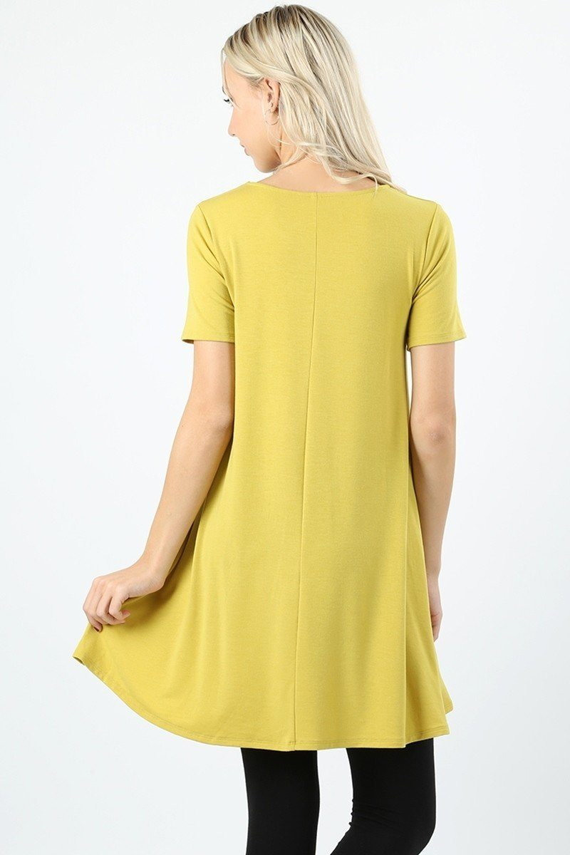4494f31dbf6 Women's Yellow Swing Dress Short Sleeve Tunic Top Tunics MomMe and More