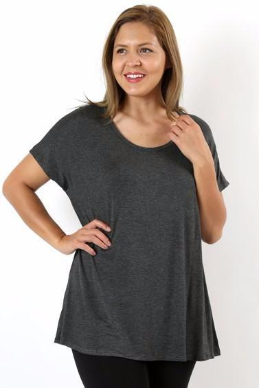Womens Tunic Top Perfect Short Sleeve Shirt Charcoal Gray: S/M/L
