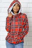 Womens Side Zip Double Hooded Sweatshirt: Red Plaid Tops MomMe and More