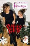 Girls Christmas Red Plaid Leggings Leggings MomMe and More
